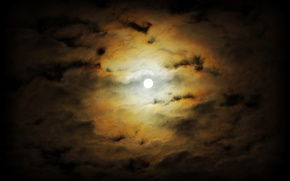Picture clouds, night, fog, The moon