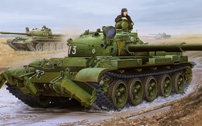 Picture art, painting, tank, T-62 Mod1975