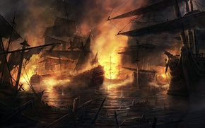 Picture fire, ships, battle