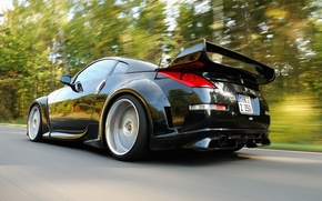 Wallpaper speed, black, Nissan, cars, car Wallpaper, Nissan, 350Z, cars, auto photo, tuning, spoiler
