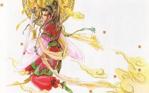 Picture leaves, sword, scarf, warrior, costume, guy, disk, manga, long hair, art, Asian, Mamiya Oki