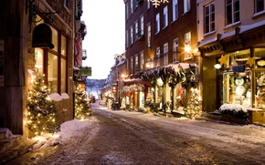 Picture lights, City, holidays, Christmas, winter, snow, street, houses, signs, New Year, buildings, decorations, Christmas trees, ...