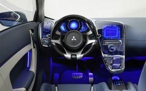 Wallpaper auto, blue, salon, neon
