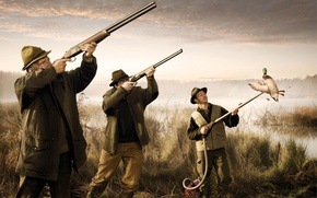 Picture lake, situation, hunting, guns, vacuum cleaner, duck, pond