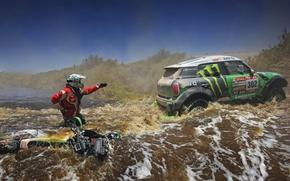 Picture green, Water, River, Motorcycle, Racer, Mini Cooper, Rally, Dakar, MINI, Mini Cooper, X-raid, For