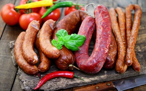 Picture pepper, vegetables, tomatoes, sausage, peppers, tomatoes, meat, vegetables, sausage