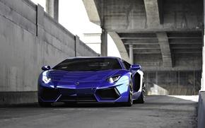 Picture blue, lamborghini, blue, aventador, lp700-4, Lamborghini, aventador, running lights