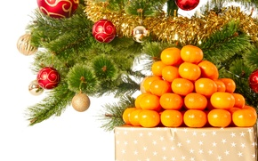 Picture decoration, balls, tree, New Year, Christmas, Christmas, tangerines, decoration, Merry