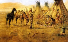 Picture picture, painting, painting, Cowboy bargaining for an indian girl wild