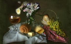 Picture wine, glass, oil, towel, bouquet, texture, cheese, grapes, still life, gerbera, bun, Alstroemeria