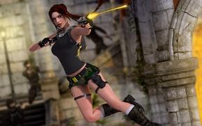 Picture girl, rendering, jump, guns, shot, Tomb Raider, ruins, Lara Croft