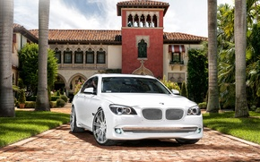 Picture seven, tuning, white, trees, mansion, BMW, the seventh series of the, 750Li, 7 Series, house, ...