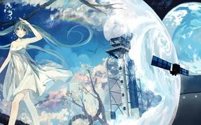 Picture girl, tree, earth, planet, rainbow, anime, art, vocaloid, hatsune miku, bou shaku