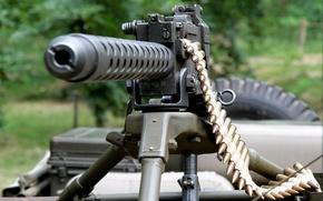Picture machine gun, easel, machine gun, Browning M2, tape cartridges