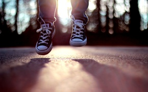 Picture the sun, mood, jump, sneakers, day, bokeh