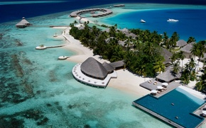 Picture palm trees, the ocean, island, the hotel, exotic, Maldives