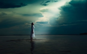 Picture water, girl, loneliness, heaven