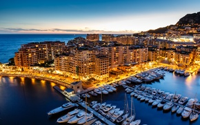 Picture sea, the city, lights, building, home, yachts, the evening, Cote D'azur, Côte d'azur, Principality of …