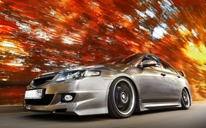Wallpaper Honda, Skorosti, Orange, Leaves