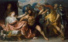 Wallpaper scissors, myth, hair, picture, painting, myth, hair, Dalila, the taking of Samson, Paul van Dyck, ...