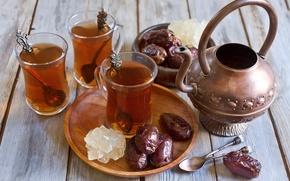 Picture kettle, Cup, tea, spoon, cups, dates, spoons, dates, Arabic tea, Arabic tea