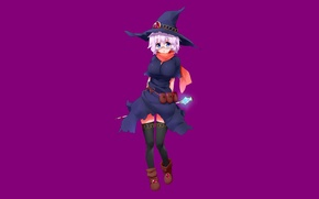 Picture girl, stone, minimalism, stockings, hat, anime, glasses, staff, sorceress, white hair, short hair, purple background, …