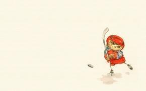 Picture mood, owl, the game, ice, art, stick, hockey, washer, helmet, children's, sovushka, Inga Paltser, Inga, …