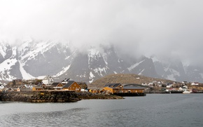 Picture winter, sea, snow, mountains, fog, coast, home, Norway, Lofoten