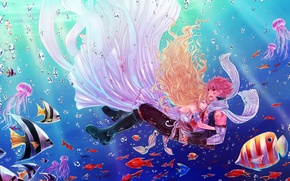 Picture water, girl, fish, guy, under water, anime, art, fairy tail, wounds, Lucy Heartfilia, Natsu Dragneel