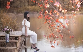 Picture girl, lake, Asian