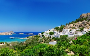 Picture trees, nature, coast, home, Greece, fortress, Greece