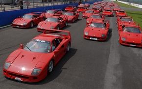 Wallpaper Machine, Track, Ferrari, Day, Road, A lot, F40, Supercar, Race