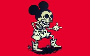 Wallpaper skeleton, cowboy, Mickey Mouse