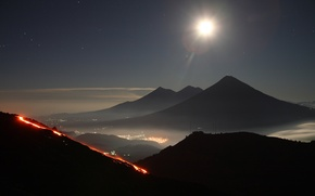 Wallpaper the sky, stars, mountains, the city, lights, the volcano, the eruption, Guatemala