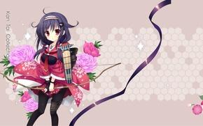 Picture pattern, roses, bow, tape, kimono, art, Kantai Collection, Naval Collection, Mitha, Taigei
