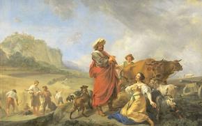 Picture picture, mythology, Nicolas Pietersz Berchem, Ruth and Boaz