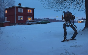 Picture snow, trees, traces, house, branch, robot, the evening, art, lights, artist, cars, the light in …