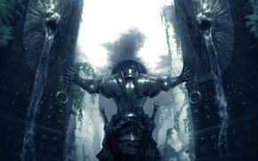 Wallpaper weapons, rain, armor, gate, warrior, swords, Warrior, strong