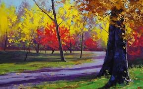 Picture autumn, trees, nature, Park, art, track, Sunny, artsaus