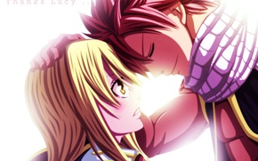 Wallpaper fairy tail, art, guy, fafacu, lucy heartfilia, anime, natsu dragneel, tale of fairy tail, girl, ...