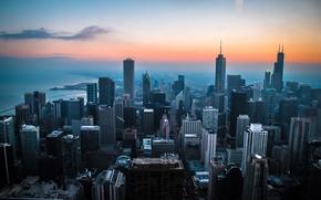 Picture city, lake, dawn, chicago