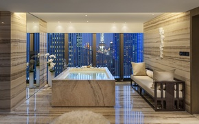 Picture flowers, design, the city, style, view, interior, window, Jacuzzi, Shanghai, vase, bathroom, sofa, beige, Pudong
