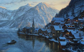 Picture winter, snow, landscape, sunset, mountains, lake, mountain, home, the evening, Austria, ate, Alps, boat, painting, ...