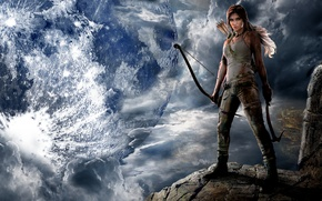 Picture look, girl, game, the moon, Tomb Raider, Lara Croft