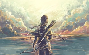 Picture girl, fantasy, warrior, art, Bow, quiver