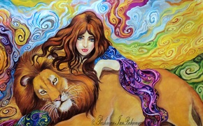 Picture eyes, look, girl, abstraction, face, background, animal, hair, hand, predator, Leo, art, mane, painting