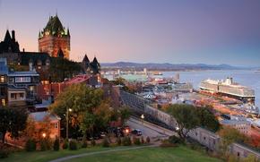 Picture sea, landscape, sunset, the city, castle, home, the evening, port, Canada, Bay, promenade, QC, province, …