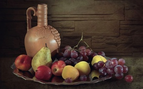 Picture grapes, pear, pitcher, fruit, nectarine