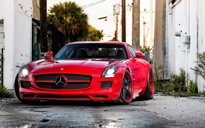Picture red, wheels, mercedes, sls, amg, adv1