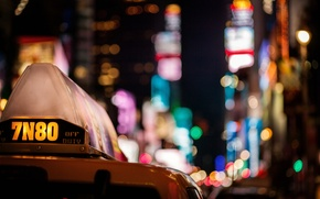 Picture machine, night, the city, lights, skyscrapers, taxi, colorful, bokeh